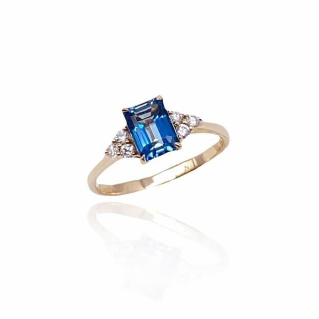 Inglessis Collection Δαχτυλίδι Ροζ Χρυσός Κ18 με Μπριγιάν και London Blue