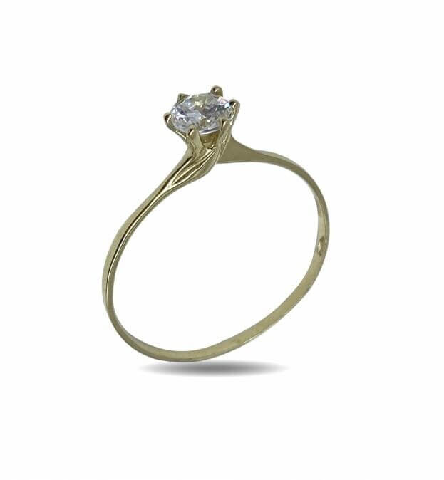 Inglessis Collection Δαχτυλίδι Μονόπετρο Κίτρινος Χρυσός Κ14
