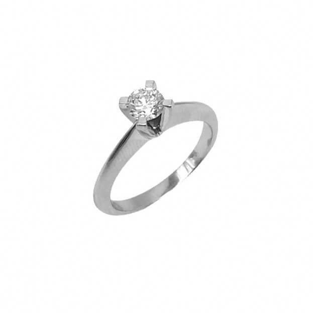 Inglessis Collection Δαχτυλίδι Μονόπετρο Λευκός Χρυσός Κ18 με Μπριγιάν
