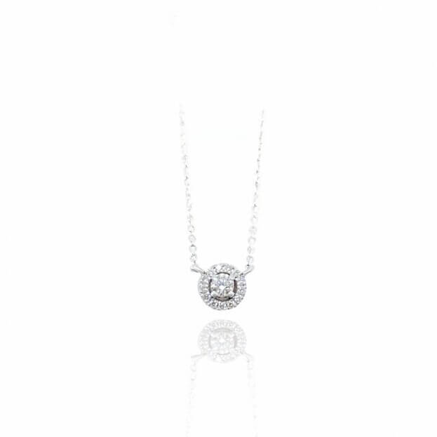 Inglessis Collection Κολιέ Λευκό Χρυσό Κ18 με Μπιργιάν