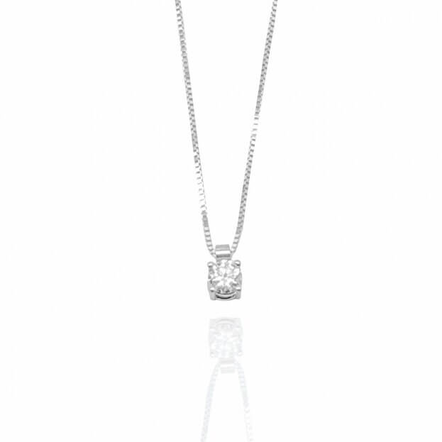 Inglessis Collection Κολιέ Μονόπετρο Λευκό Χρυσό Κ18 με Μπιργιάν