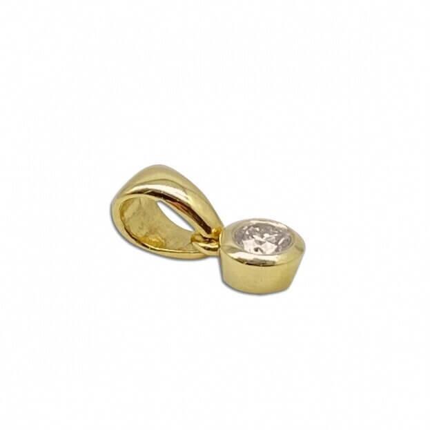 Inglessis Collection Κολιέ Μονόπετρο Κίτρινο Χρυσό Κ18 με Μπιργιάν