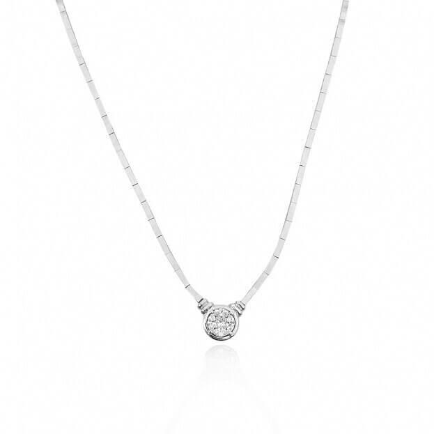 Inglessis Collection Κολιέ Λευκός Χρυσός Κ18 με Διαμάντι
