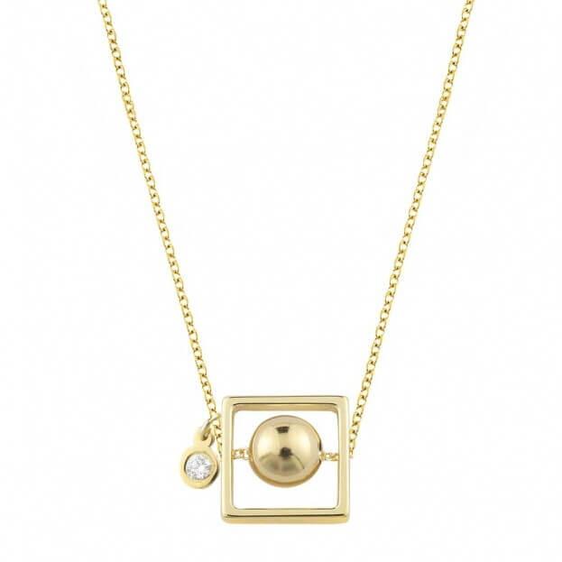 Inglessis Collection Κολιέ Με Μπριγιάν Κίτρινο Χρυσό Κ14