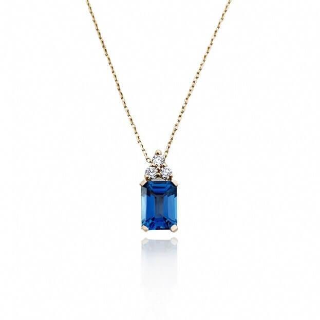 Inglessis Collection Κολιέ Ροζ Χρυσός Κ18 με Μπριγιάν και London Blue