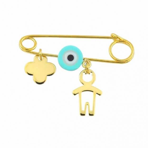 Inglessis Collection Παιδικό Κόσμημα Κίτρινος Χρυσός Κ14 Παραμάνα για νεογέννητο