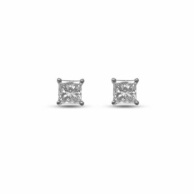 Inglessis Collection Σκουλαρίκια Καρφωτά Λευκό Χρυσό Κ18 με Μπιργιάν