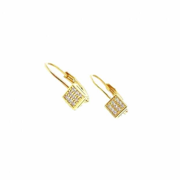 Inglessis Collection Σκουλαρίκια Κίτρινο Χρυσό Κ14 (ζεύγος) με ζιργκόν