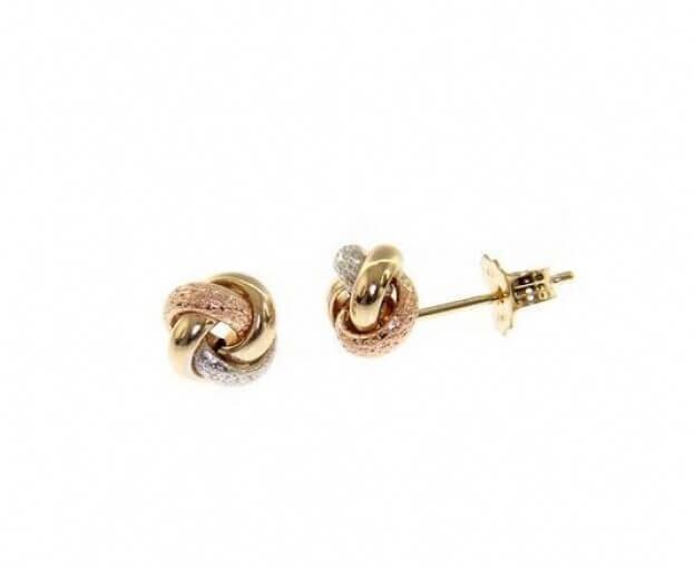 Inglessis Collection Σκουλαρίκια Κίτρινο Ροζ & Λευκό Χρυσό Κ14
