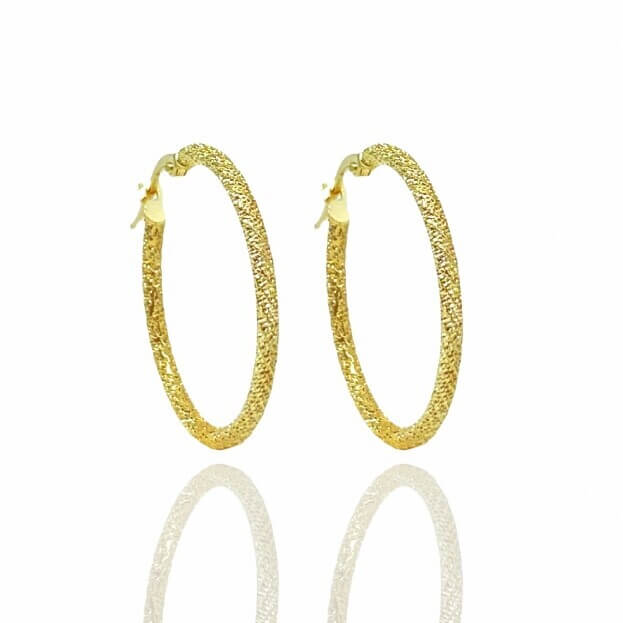 Inglessis Collection Σκουλαρίκια Κίτρινος Χρυσός Κ14 Κρίκοι