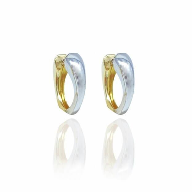 Inglessis Collection Σκουλαρίκια Λευκό/Κίτρινο Χρυσό Κ14