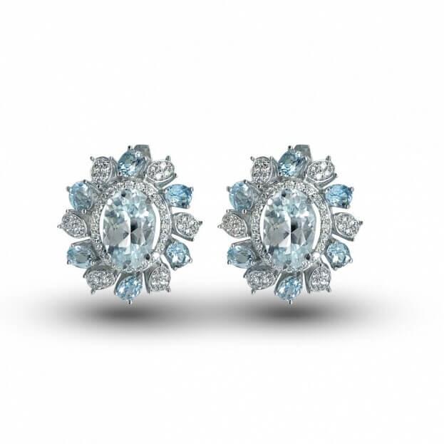 Inglessis Collection Earrings White Gold Κ18 with Diamonds & Aqua Marine