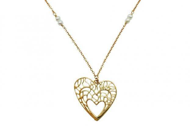 INGLESSIS COLLECTION Κολιέ Καρδιές Κίτρινος Χρυσός K14 με πέρλες