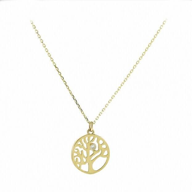 Inglessis Collection Κολιέ Κίτρινος Χρυσός Κ14 Δεντρό Ζωής με Ζιργκόν