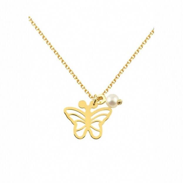 Inglessis Collection Παιδικό Κολιέ Κίτρινος Χρυσός Κ14 Πεταλούδα