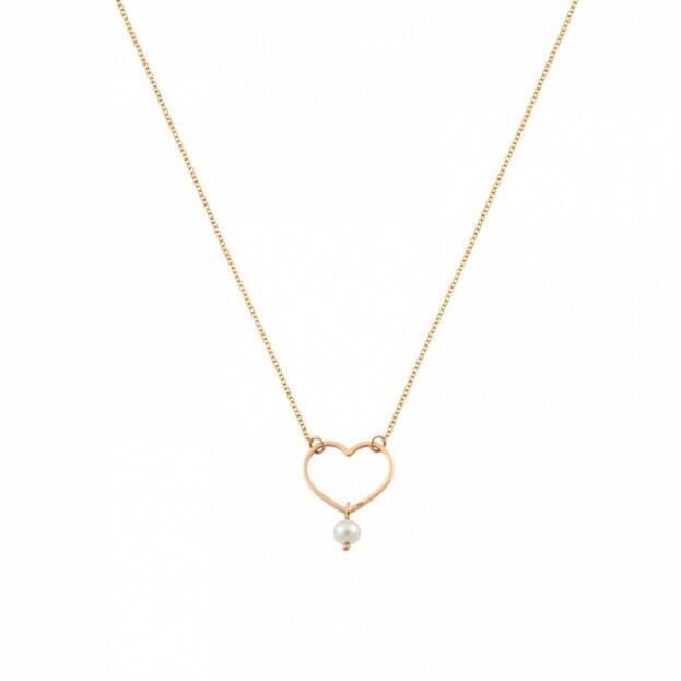 Inglessis Collection Παιδικό Κολιέ Ροζ Χρυσό Κ14 Καρδιά