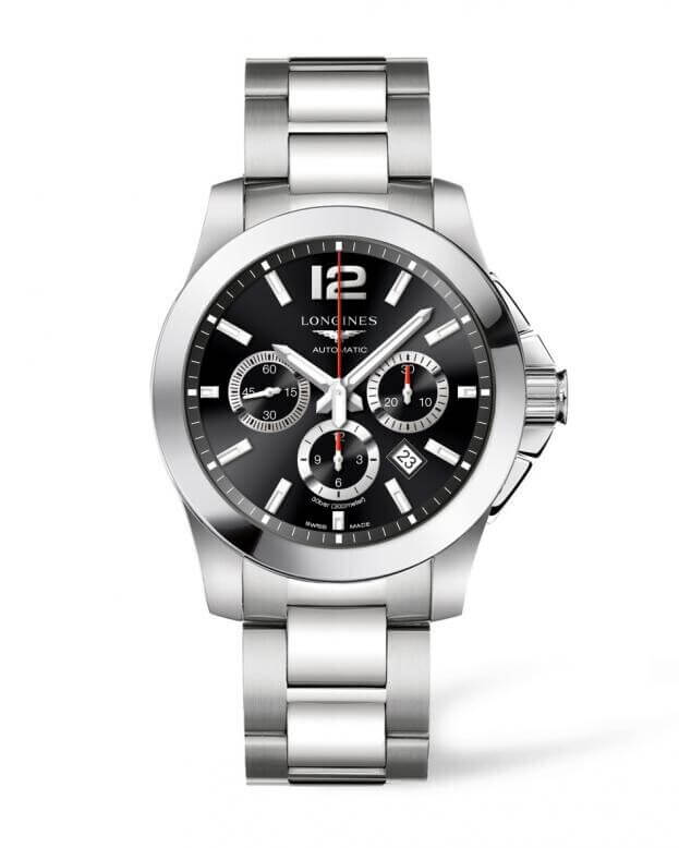 LONGINES Conquest Automatic 44mm Χρονογράφος Μαύρο Καντράν Ανδρικό Ρολόι