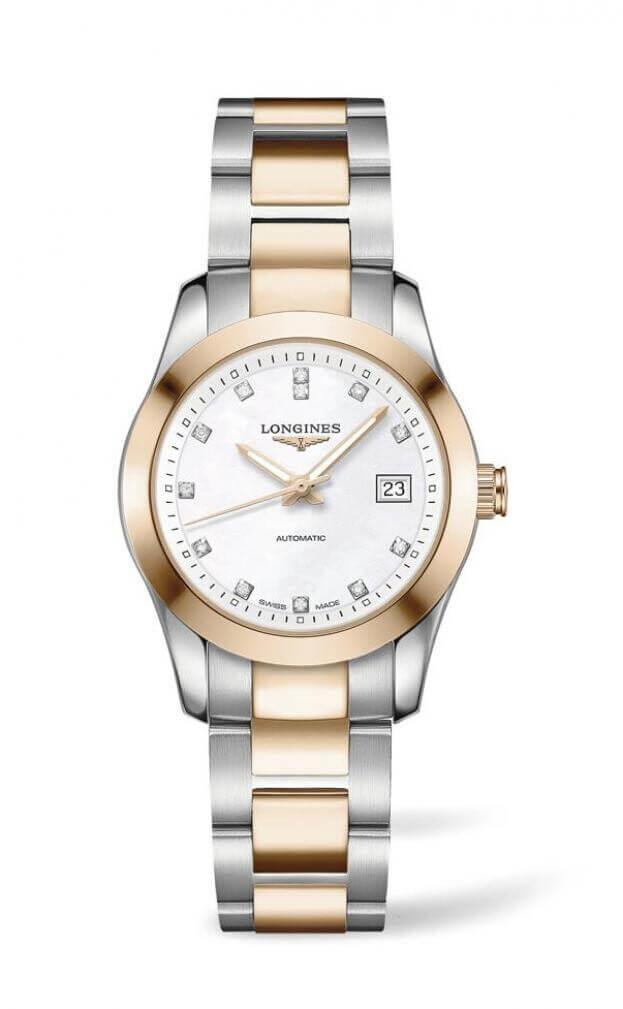 LONGINES Conquest Classic Automatic 29.5mm Λευκό Καντράν με Μπριγιάν Γυναικείο Ρολόι