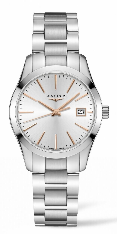 LONGINES Conquest Classic Quartz 34mm Ασημί Καντράν Γυναικείο Ρολόι