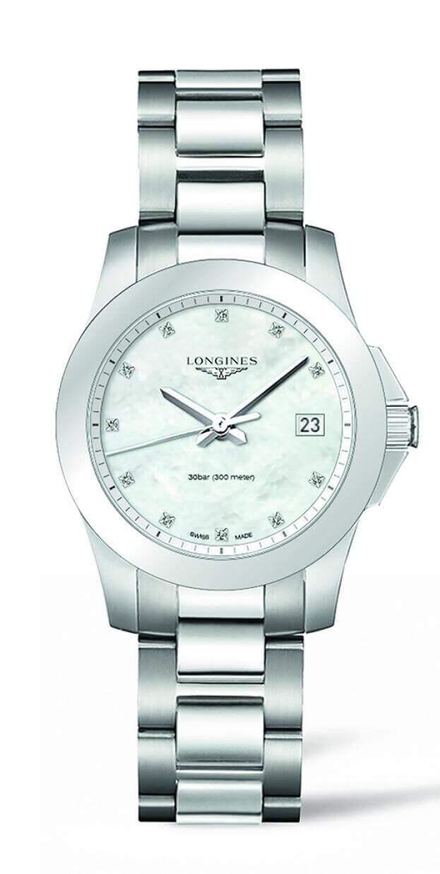 LONGINES Conquest Quartz 34mm Λευκό Φίλντισι Καντράν με Μπριγιάν Γυναικείο Ρολόι