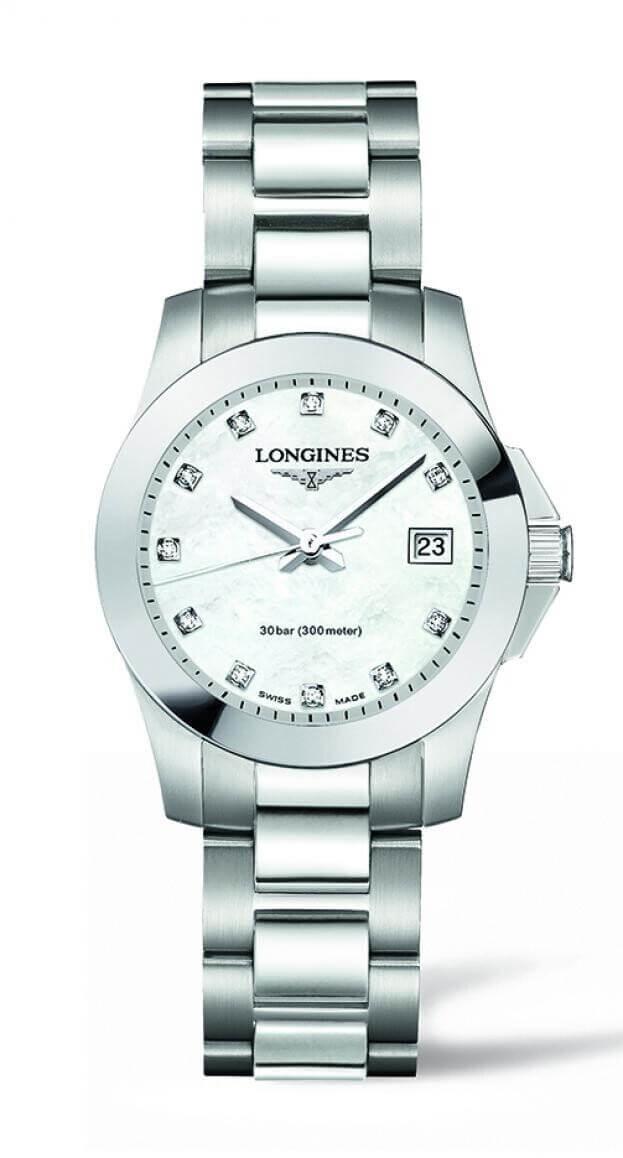 LONGINES Conquest Quartz 29.5mm Λευκό Φίλντισι με Μπριγιάν Γυναικείο Ρολόι