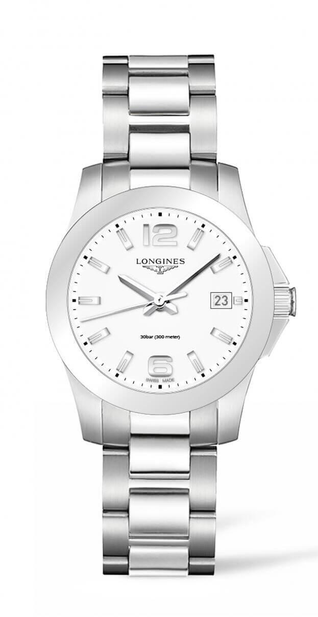 LONGINES Conquest Quartz 34mm Λευκό ματ Καντράν Γυναικείο Ρολόι