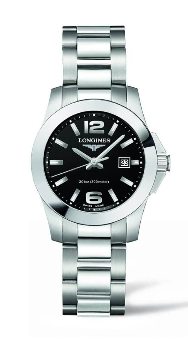 LONGINES Conquest Quartz  29.5mm Μαύρο Καντράν Γυναικείο Ρολόι