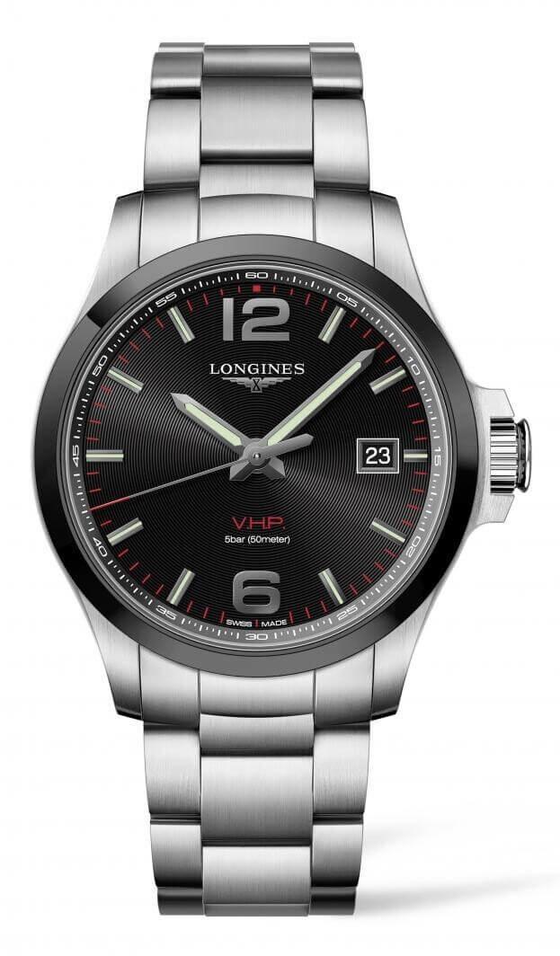 LONGINES Conquest V.H.P. Quartz Μαύρο Καντράν Ανδρικό Ρολόι 43mm L37294566