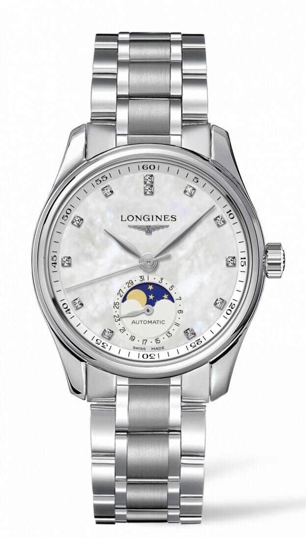 LONGINES MASTER COLLECTION 34mm  Λευκό Mother-of-pearl Καντράν με Μπριγιάν Γυναικείο Ρολόι
