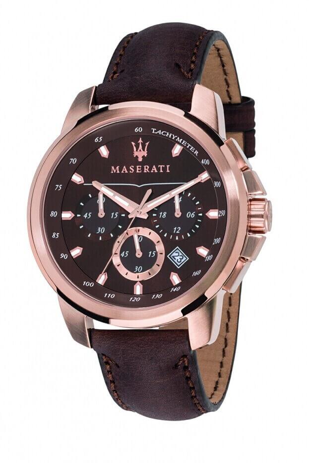 MASERATI SUCCESSO 44mm Καφέ Καντράν Ανδρικό Ρολόι Quartz Χρονογράφος Ακριβείας