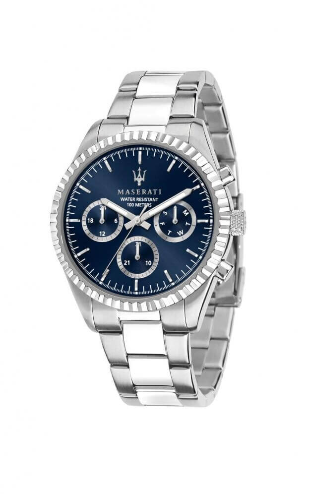 MASERATI COMPETIZIONE Quartz Multi-Function 43mm Μπλε Καντράν Ανδρικό Ρολόι