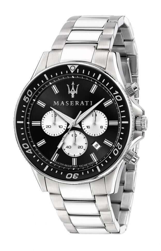 MASERATI SFIDA 44mm Μαύρο Καντράν Ανδρικό Ρολόι Quartz Χρονογράφος Ακριβείας