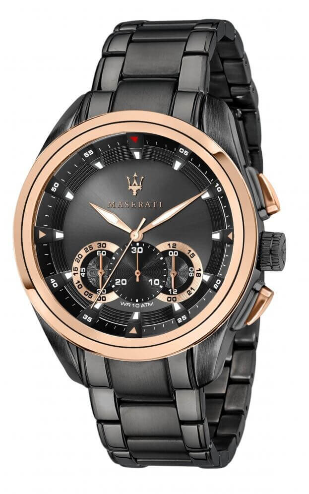 MASERATI TRAGUARDO Quartz Μαύρο Καντράν Ανδρικό Ρολόι Χρονογράφος 45mm R8873612016