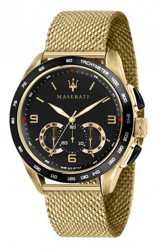 MASERATI TRAGUARDO Quartz Μαύρο Καντράν Ανδρικό Ρολόι Χρονογράφος Ακριβείας 45mm R8873612010