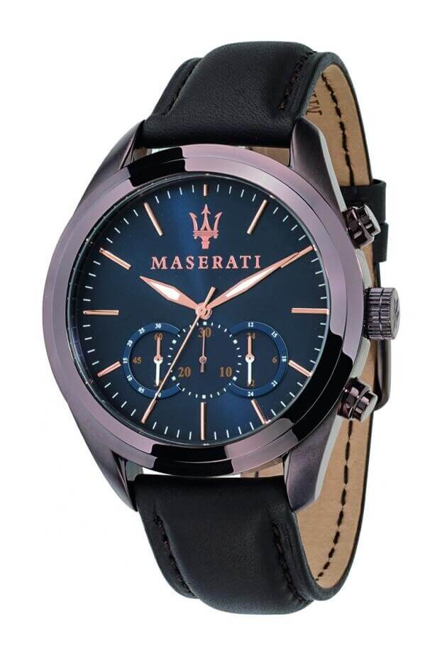 MASERATI TRAGUARDO Quartz 45mm Μπλε Καντράν Ανδρικό Ρολόι Χρονογράφος