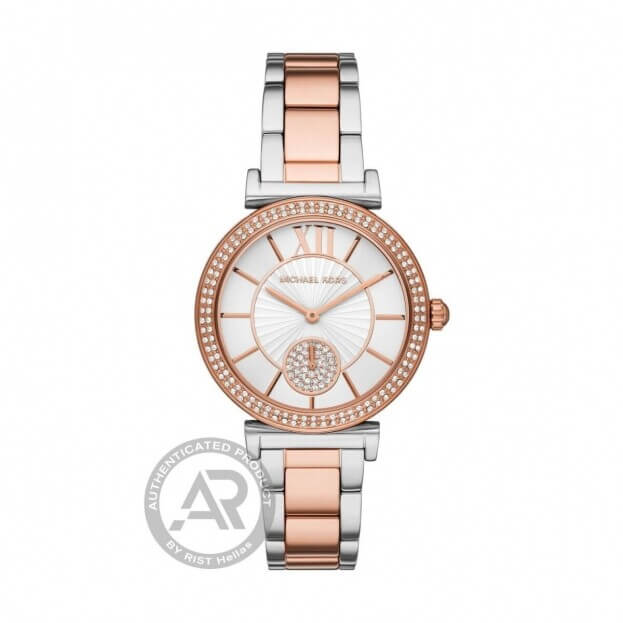 MICHAEL KORS Abbey 36mm Δίχρωμο Ασημί Και Ροζ Χρυσό Γυναικείο Ρολόι