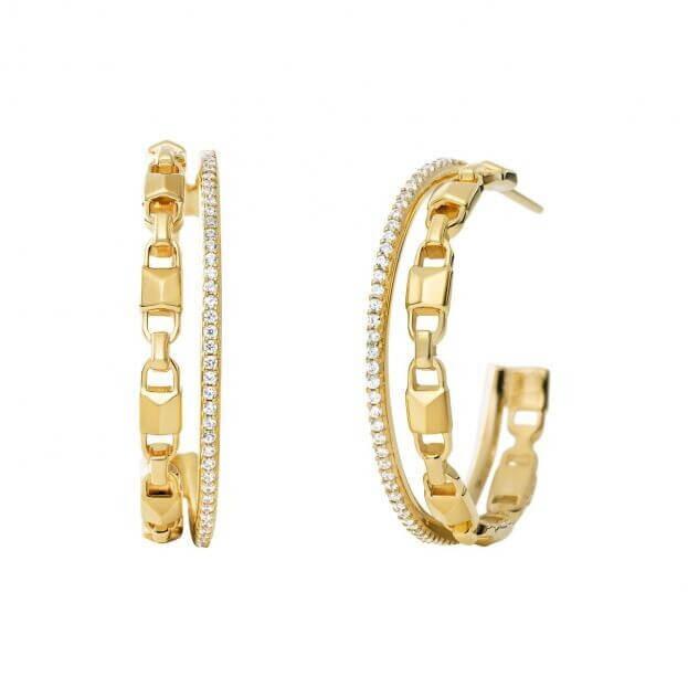 MICHAEL KORS MERCER LINK Σκουλαρίκια Ασήμι επιχρυσωμένο Κ14 με Ζιργκόν