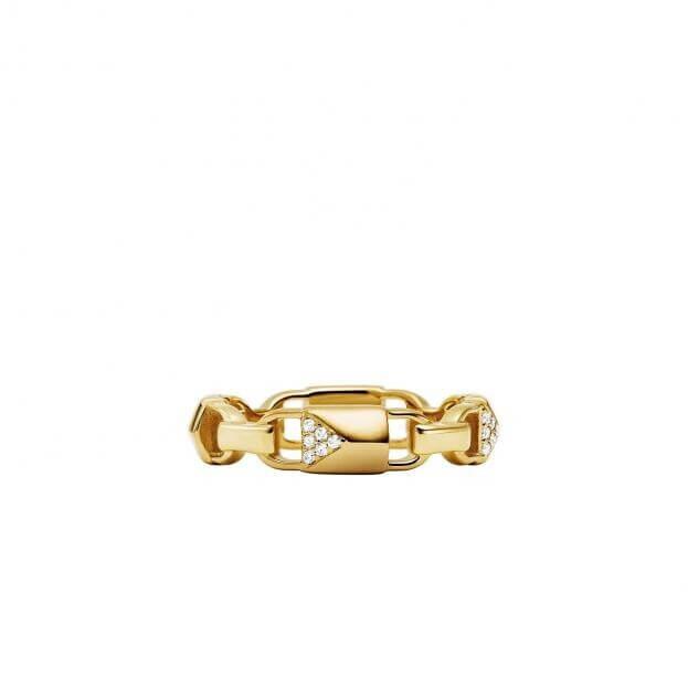 MICHAEL KORS MERCER LINK RING Ασήμι επιχρυσωμένο Κ14 με Ζιργκόν
