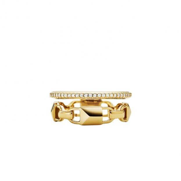 MICHAEL KORS MERCER LINK RING Δαχτυλίδι Ασήμι επιχρυσωμένο Κ14 με Ζιργκόν