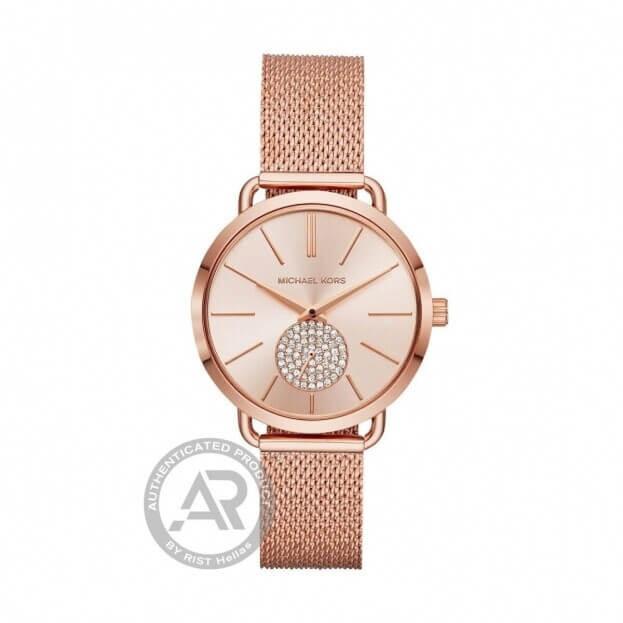 MICHAEL KORS Portia 36.5mm Ροζ Χρυσό Γυναικείο Ρολόι
