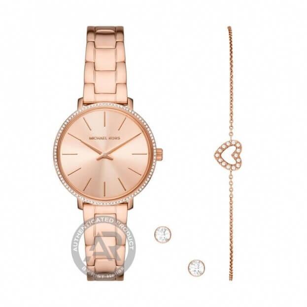 MICHAEL KORS Pyper Set 32mm Ροζ Χρυσό Καντράν Γυναικείο Ρολόι