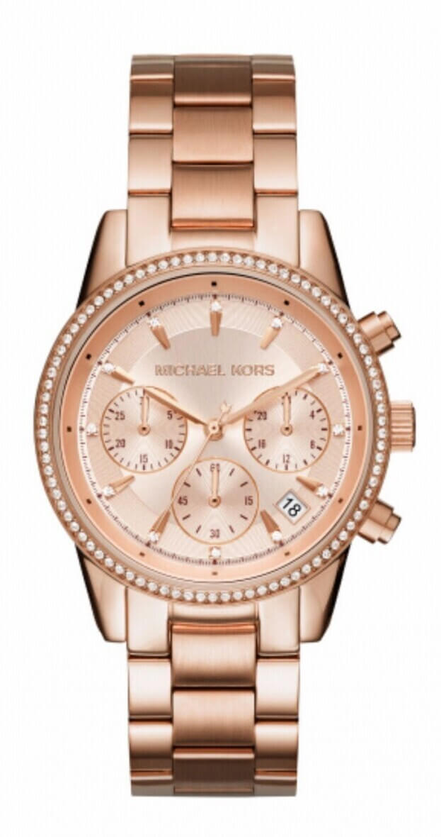 MICHAEL KORS Ritz Χρονογράφος 37mm Ροζ Χρυσό Γυναικείο Ρολόι