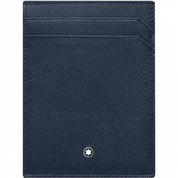 Montblanc Δερμάτινη Καρτοθήκη Montblanc Sartorial Pocket 4cc with ID Card Holder Μπλε