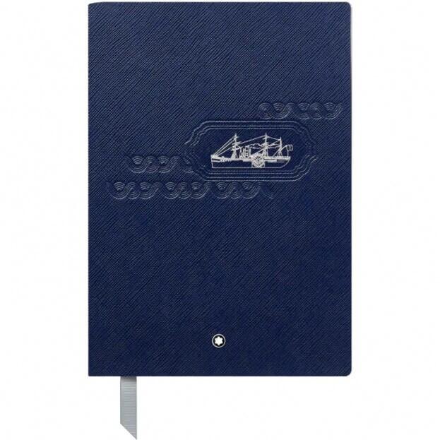 Montblanc Fine Stationery Notebook #146 Σημειωματάριο Δερμάτινο Α5 Blue Around The World In 80 Days
