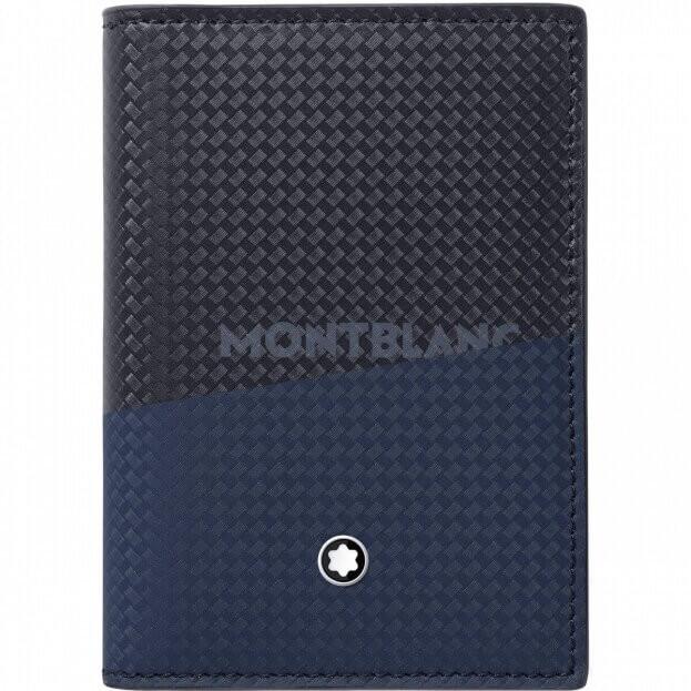 Montblanc Καρτοθήκη Extreme 2.0 Business Card Holder with View Pocket Μαύρη/Μπλε Δερμάτινη