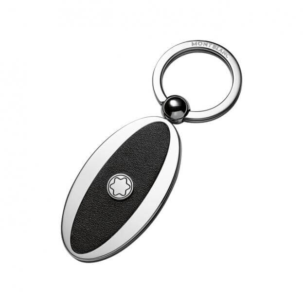 MONTBLANC MEISTERSTUCK OVAL METAL/LEATHER KEY RING 114563