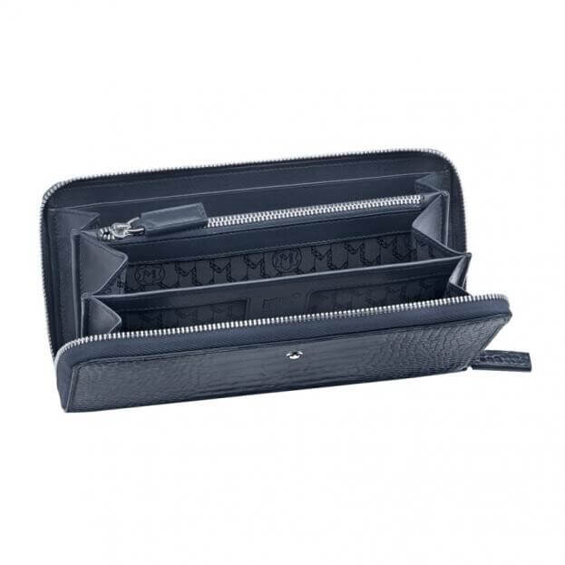MONTBLANC MEISTERSTUCK SELECTION WALLET 8CC WITH ZIP AND COIN CASE BLUE