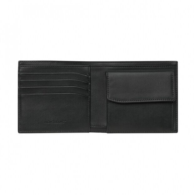 Montblanc Meisterstuck Soft Grain Wallet 4cc Μαύρο Δερμάτινο Πορτοφόλι με θήκη για κέρματα