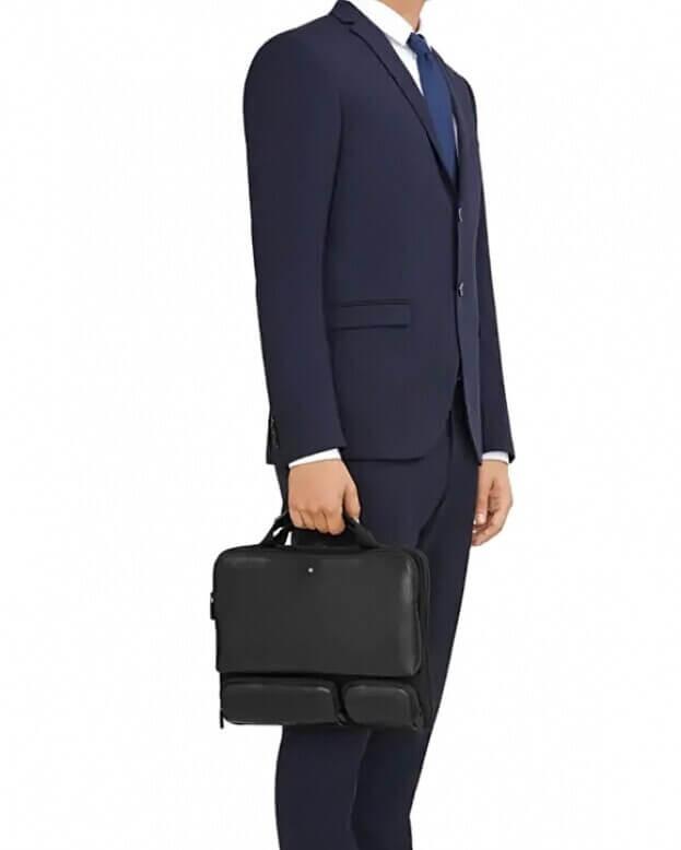 Montblanc Nightflight Laptop Case Τσάντα λαπτοπ Δέρμα Μαύρο