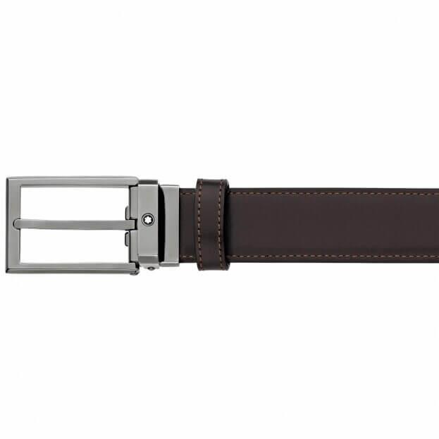 MONTBLANC Rectangular Shiny Ruthenium-Coated Pin Buckle Belt BLACK/BROWN 118433